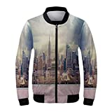 Modern Decor Women's Lightweight Jacket,New York City USA Landscape from Roof Apartment Balcony Photo Image for Sports,XS