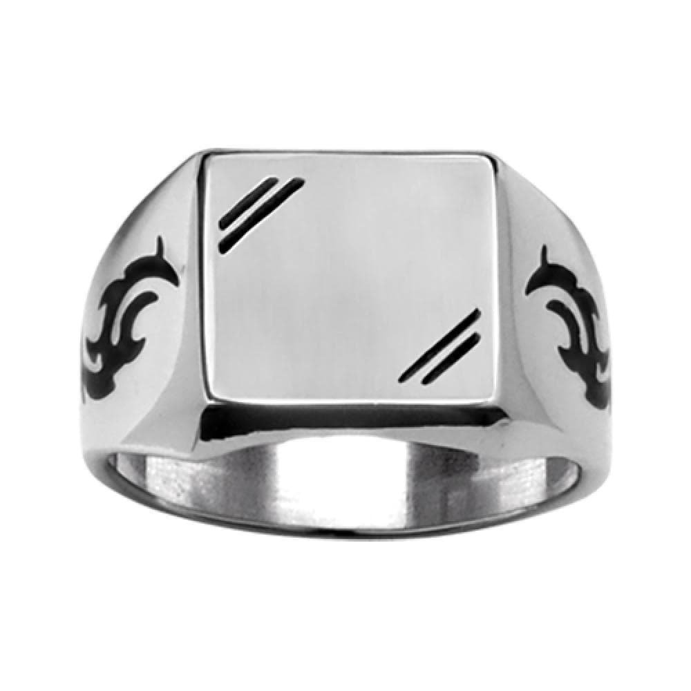 So Chic Jewels - Stainless Steel - Satiny Look Black Tribal Design on the Side Square Shape Signet Ring Size 13 - Customisable: Your Message Engraved Free