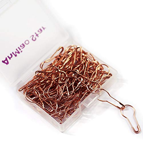 AnMiao Star 100 Pieces 7/8 Inch Safety Bulb Pins Metal Safety Pins for Knitting Stitch Markers, Knitting Stitch Marker, Sewing Clothing DIY (Rose Gold)