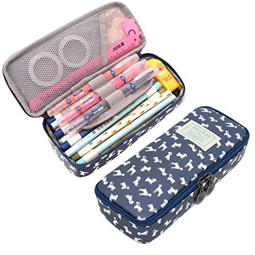Twinkle Club Cute Floral Pencil Pen Case Bag Pouch Holder for Middle High School College Office Girl Storage Lucky Dog