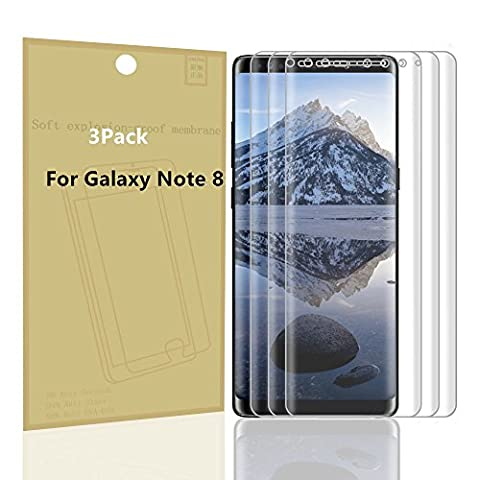 Galaxy Note 8 Screen Protector, AOKER [3 Pack] [Film] [Updated Design] [Bubble Free] Full Coverage Not Tempered Glass HD Screen Protector Film for Samsung Galaxy Note 8 (Iphone 6 Case Otterbox Hunting)