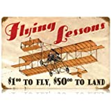 Flying Lessons Vintage Metal Sign Aviation Airplane Humor 18 X 12 Steel Not Tin