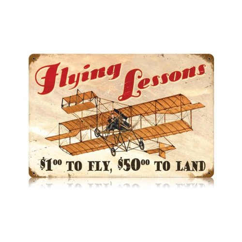 Flying Lessons Vintage Metal Sign Aviation Airplane Humor 18 X 12 Steel Not Tin ()