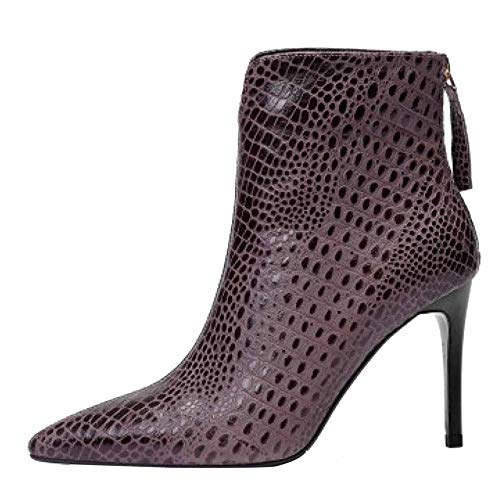 Stivaletti tacchi da Grey Fashion Stamped Pattern Leather Martin donna Pointed alti frfOEnBxd