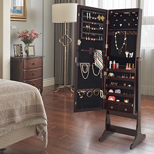 (Elegant, Perfect for Organizing and Storing Your Favorite Rings, Necklaces, and Bracelets with Lockable Mirrored Jewelry Cabinet with Stand and LED Lights)