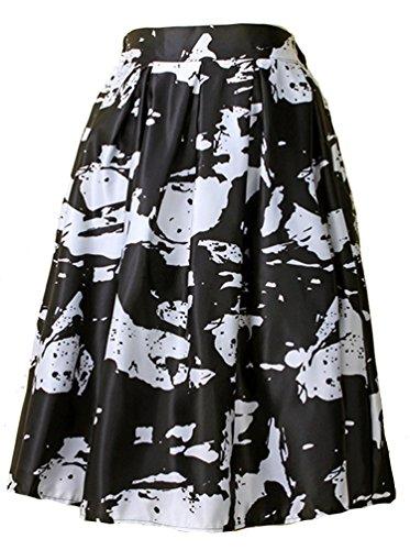 Helan femmes Taille haute ebouriffer de cru floral jupe Noir Base avec Blanc Motif