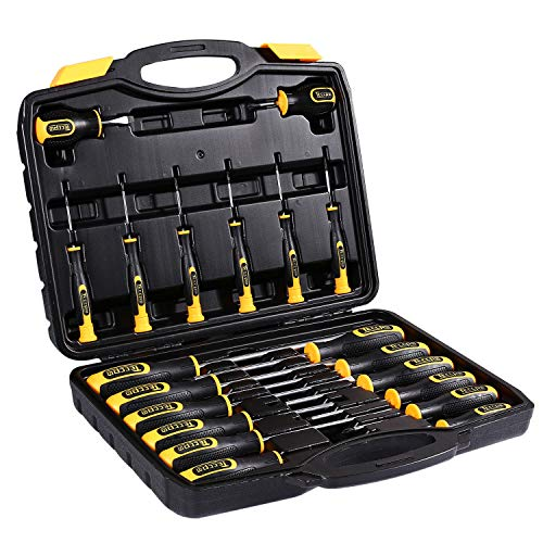Magnetic Screwdriver Set with Case, TECCPO 20-Piece Tool Kit Including Slotted/Phillips/Torx Precision Screwdriver, High Strength Chrome Vanadium Steel Screwdriver Kit ()