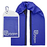 """Cooling Towel, POLYGON Microfiber Ice Sports Towel, Instant Chilling Neck Wrap Sports, Workout, Running, Hiking, Fitness, Gym, Yoga, Pilates, Travel, Camping & More, 40"""" x 12"""""""