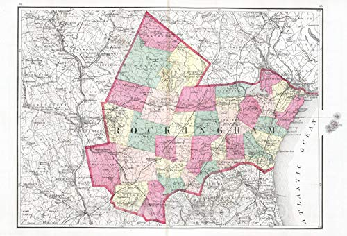 Historic Map | 1877 Rockingham (County), (New Hampshire). | Vintage Wall Art | 44in x 30in