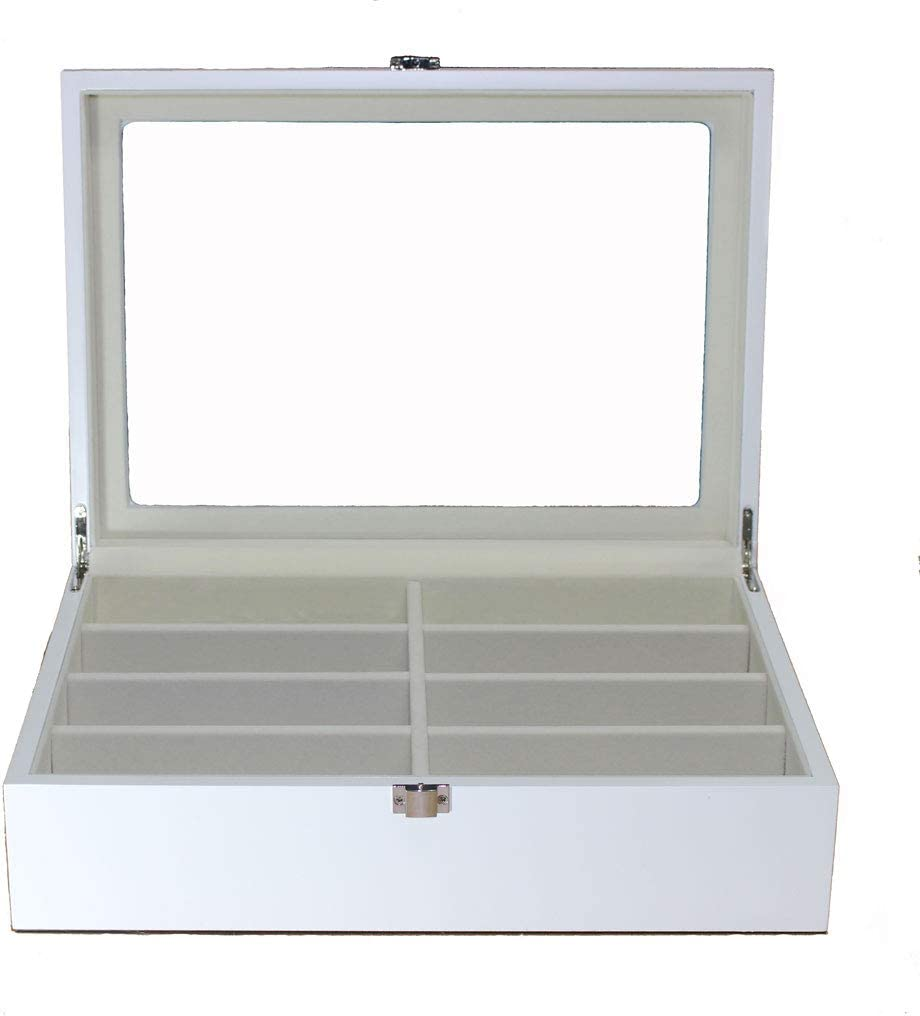 Roomganize Luxury Eight-Compartment Sunglasses Organizer, Eyewear Organizer, Jewelry Box, Watch Box and Display Case-Enhances The Decor of Any Room (White)