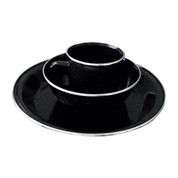 Amazing 1 Person Camping Picnic Dining Set Plate Mug Bowl   Black Enamel