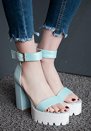 Sandales Bloc Talon Plateforme Femme Aisun Bleu Mode xwFq7WWIXt