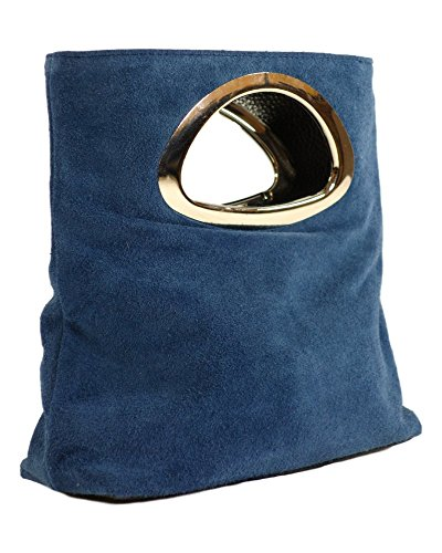 (MILANO Jeans blue Suede Clutch, Exclusive Italian Leather, Carelli Italia TWEE)