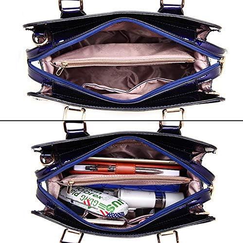 JIA JIA 32 * 10 * 24 Centimetri Europei Americani Paillettes Ricamo Elegante Pelle Verniciata delle Donne Borse della Spalla Diagonale Banchetti Blu del Regalo di Moda Splendente