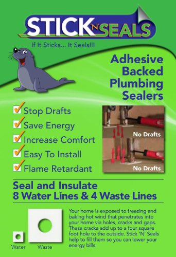 Stick n Seal Adhesive Backed Plumbing Draft sealers. Save Energy and Money. Pack of 12