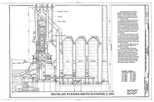 Furnace Steel Blast - Blueprint Diagram No. 3 Blast Furnace - South Elevation, c. 1974 - Pittsburgh Steel Company, Monessen Works, Blast Furnace No. 3, Donner Avenue, Monessen, Westmoreland County, PA 24in x 16in
