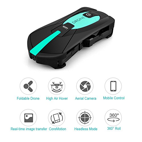 SUPOW Pocket RC Drone, Foldable RC Quadcopter Drone with Camera Gravity Induction 2.4 GHz 3D UAV with Wifi FPV HD Camera for Kids and (Channel Fold)