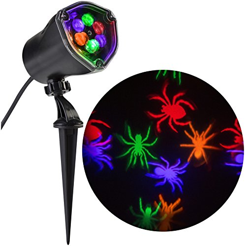 Gemmy Whirl-A-Motion Multi-Function Orange/Purple/Green/Red Led Multi-Design Halloween Outdoor Stake Light Projector with Spiders]()