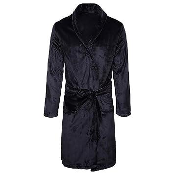 Los hombres de invierno coral terciopelo camisón largo bata albornoz engrosamiento pijamas casuales ropa de dormir