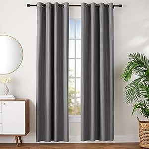Amazonbasics juego de cortinas que no dejan pasar la luz con ojales 245 x 140 cm gris - Cortinas que no dejan pasar la luz ...
