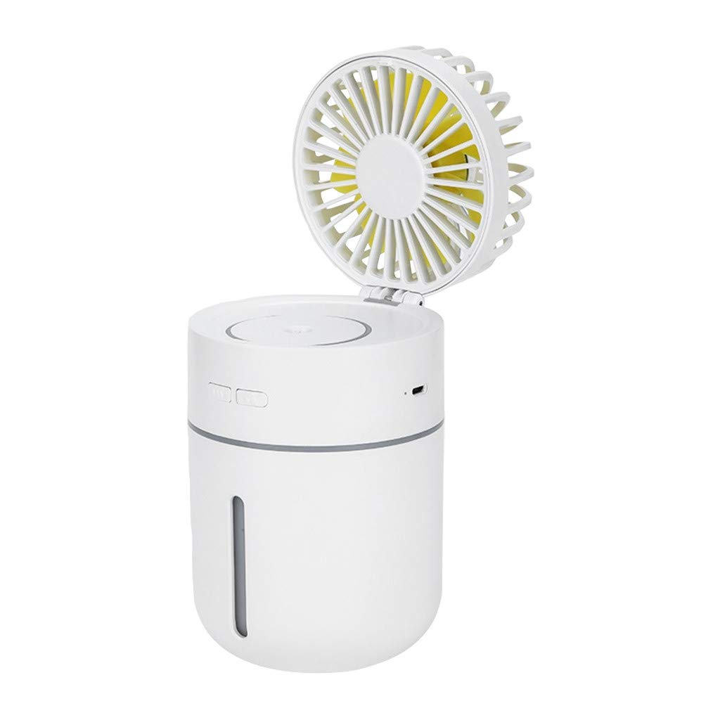 Sttech1 Creative 400ml Humidifier Car Office Air Humidifier USB Charging Desktop Fan 180 Degree Free Wind Direction (White) by Sttech1-Home (Image #1)