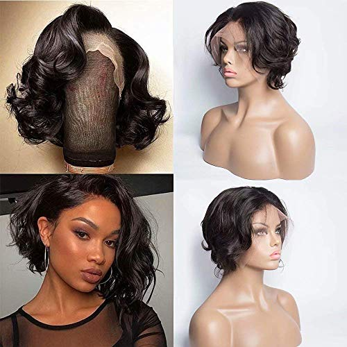 Maxine Short Pixie Cut Wig Brazilian Bob Wig Wavy Loose Wave 130% Density Lace Front Wigs Human Hair For Black Women Pre Plucked Hairline 13x4 Short Haircuts Lace Wig 6 inch (Best Bob Haircuts For Thin Hair)
