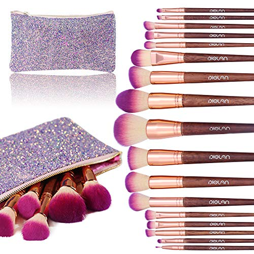 Makeup Brush Set, Diolan 17PCs Professional Makeup Brushes for Foundation Blending Blush Concealer Eye Shadow, Synthetic Fiber Bristles & Wooden Handle, Travel Makeup Bag Included, Glitter -