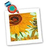 qs_100929_10 Florene Famous Art - Picture Of Van Goghs Heavily Textured Painting Sunflower - Quilt Squares - 25x25 inch quilt square