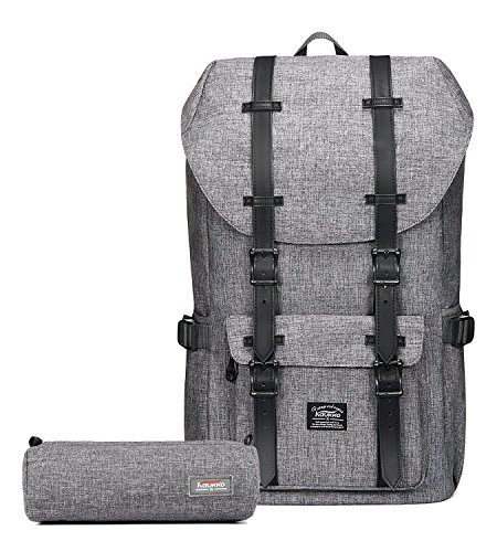 Kaukko Laptop Outdoor Backpack, Travel Hiking& Camping Rucksack Pack, Casual Large College School Daypack, Shoulder Book Bags Back Fits 15' Laptop & Tablets (1Linen Grey(2pc))