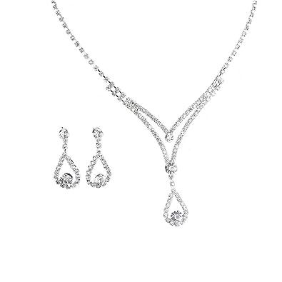 c7a204793 JUESJ Fashion Flower Water Drops Tears Crystal Pendant Necklace Earrings  Suit for Women Wedding Gift (