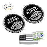 JEEP BLACK TRAIL RATED 4x4 EMBLEM METAL DECAL BADGE (2pcs) with BONUS US FLAG STICKER and 2 ALCOHOL PADS