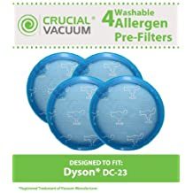 4 Dyson DC23 Long Life Washable & Reusable Pre-Filters, Compare to Part # 913394-01, Designed & Engineered by Crucial Vacuum