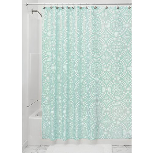 Green Toile Shower Curtain - InterDesign Medallion Fabric Shower Curtain, 72 x 72, White/Mint