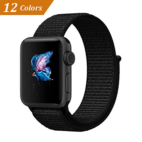 QIENGO Qifit New Nylon Sport Loop with Hook and Loop Fastener Adjustable Closure Wrist Strap Replacment Band for iwatch Apple Watch Series 1 /2 / 3,42mm,Dark Black