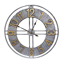 YIDIE 30 inch Large Wall Clock Large Decorative Pure Metal Retro Decor for Home Farmhouse Living Room Nice Gift Idea to Friend