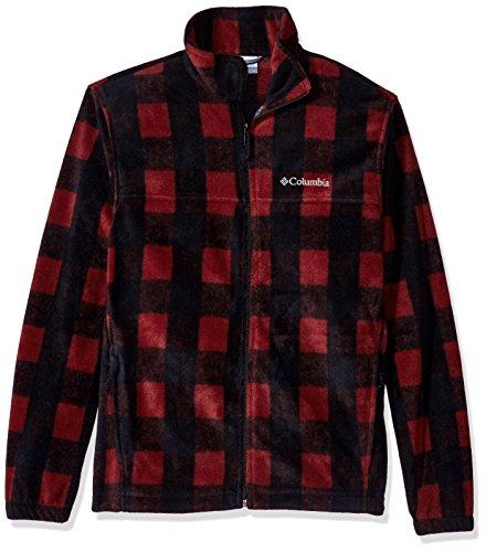 Columbia Men's Cascades Explorer Full Zip Fleece Jacket, Deep Rust Plaid Orange, Medium