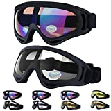 Outgeek Ski Goggles, 2-Pack Skate Glasses with UV 400 Protection Windproof and Dustproof for Snowboard Motorcycle Bicycle
