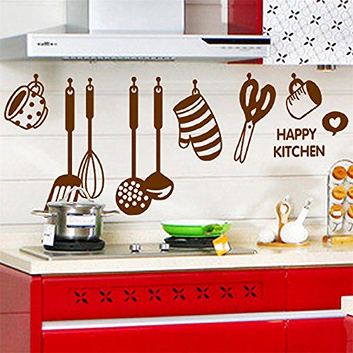 Unfinished Armoires Tv (Simayixx Home Decor, DIY Removable Happy Kitchen Wall Decal Vinyl Home Decor Wall Stickers New (as show))