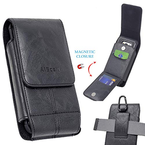 AIScell Wallet Case Vertical Black Leather Sleeve Flip Pouch Belt Waist Holster with Carabiner for iPhone 11, 11 Pro Max,XS Max,XR, 8 Plus, 7 Plus, 6S Plus, Already with Protective Hybrid Cover on
