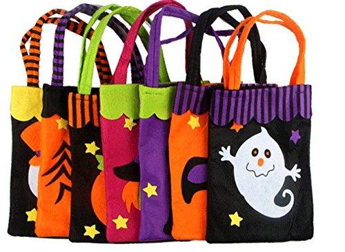 UChic 5Pcs/lot Halloween Tote Bag Kids Non-woven Fabrics Pumpkin Bat Ghost Spider Gift Bags Halloween Props Children Toys Trick Treat Candy Bag(Pattern (Cotton Candy Halloween Prop)
