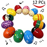 12 Pieces 3'' Wooden Egg Shakers Maracas Percussion Musical for Party Favors, Classroom Prize Supplies, Musical Instrument, Basket Stuffers Fillers, Easter Hunt by JOYIN