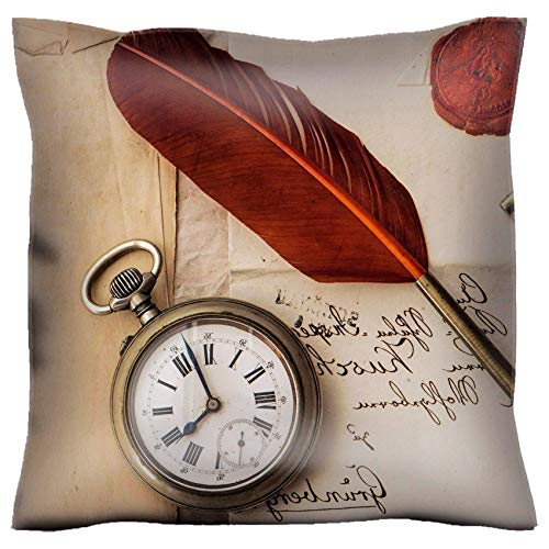 MSD Handmade 32X32 Throw Pillow case Polyester Satin Pillowcase Decorative Soft Pillow Covers Protector Sofa Bed Couch Image ID 27133800 Old Letter with Wax Seal Vintage quill Clock and Key (Msd Square Clock)