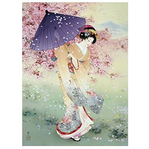 Cherry Blossom Japanese Geisha 5D DIY Diamond Painting Full Square Drill Resin Embroidery Mosaic Cross Stitch Home Decor(11.8x15.8inch)