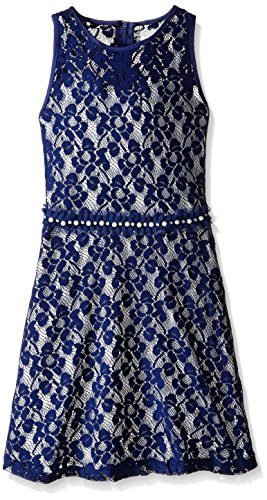 embellished blue skater dress - 9
