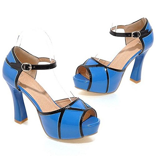 LongFengMa Women Contrastcolor Block High Heel Summer Peep Toe Platform Sandals Blue R70M0MhM