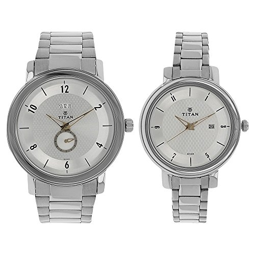 Titan Couple's 94402554SM01 Contemporary Silver Dial Silver Metal Strap Watch by Titan