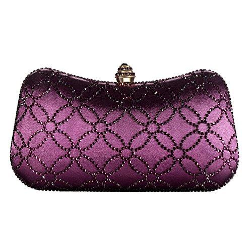 DMIX Womens Flower Crystal Clutch for Wedding Bridal Prom Evening Bag Dark Purple - Plum Clutch