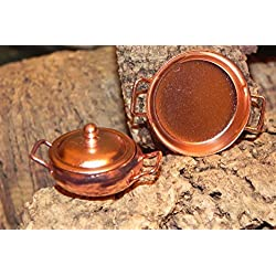 SSJSHOP Pot Lid Pan Metal Copper Color Dollhouse Miniature Collection Gift