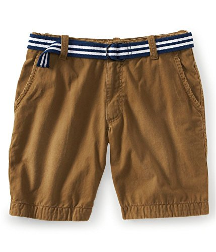Aeropostale Mens Flat Longer Length Khaki Belt Casual Chino Shorts 289 27