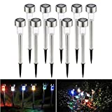 NEWNEN Solar Garden Lamp Light Stainless Steel Waterproof Outdoor Solar Lights Solar Pathway Lights Walkway Lights Solar Path Lights Solar Landscape Lights for Outdoor Path Patio Yard Deck Driveway and Garden Pack of 12